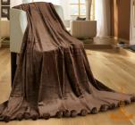 Плед меховый Love You с помпонами 200х220, коричневый