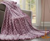Плед меховый Love You с помпонами 150х200, розовый с шарами