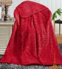 Плед флисовый Love You с рисунком 200х220, бордовый