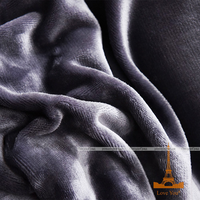 Плед-покрывало меховое Love You 200х220, антрацит (темно-серый)