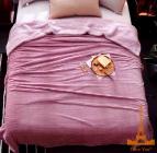 Плед хутровий Love You в смужку 200х220, рожевий