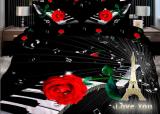 """Комплект постільної білизни Love You Сатин 3D """"Мелодія"""" Євро"""