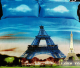 """Комплект постільної білизни Love You Сатин 3D """"Париж"""" Євро"""