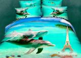 """Комплект постельного белья Love You Сатин 3D """"Океан"""" Евро"""