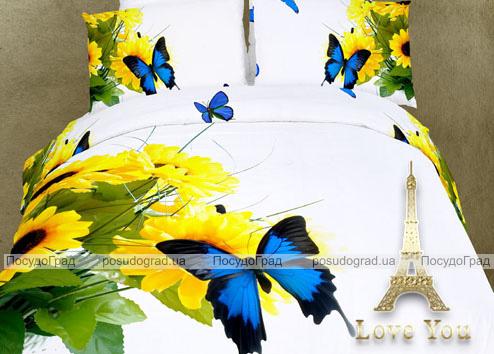 """Комплект постельного белья Love You Сатин 3D """"Мотылек"""" Евро"""