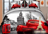 """Комплект постельного белья Love You Сатин 3D """"Лондон"""" Семейный"""