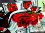 """Комплект постельного белья Love You Сатин 3D """"Счастье"""" Семейный"""