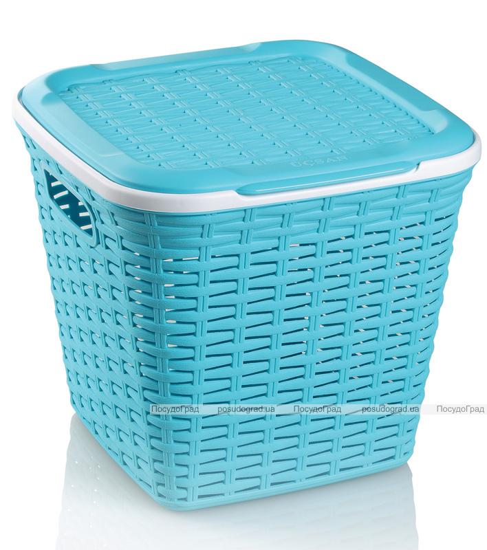 Корзина Ucsan Basket для белья пластиковая 30x30x28см, бирюзовая