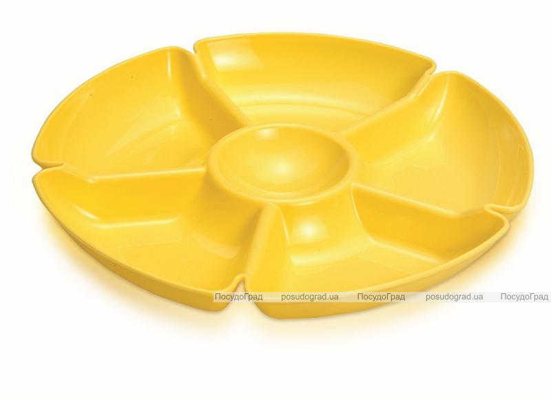 Менажница Ucsan Frosted Bowl пластиковая Ø28см, 6 секций (тарелка для закусок)