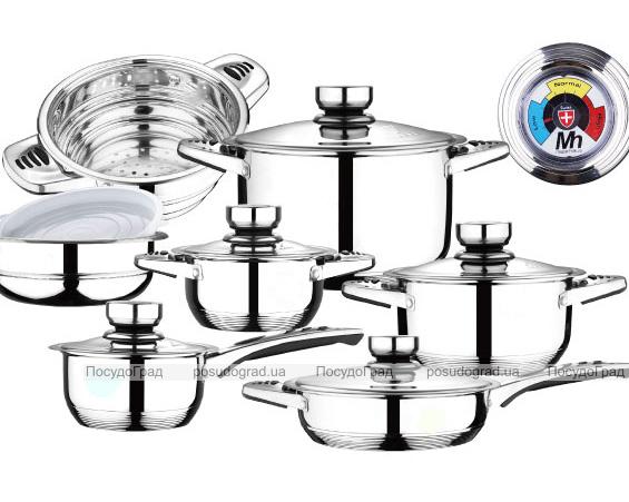 Набор кухонной посуды Millerhaus Munich 17 предметов с термодатчиками на крышках