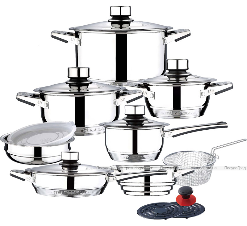 Набор кухонной посуды Millerhaus Zurich 19 предметов с термодатчиками на крышках