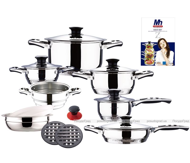 Набор кухонной посуды Miller House 17 предметов с термодатчиками на крышках