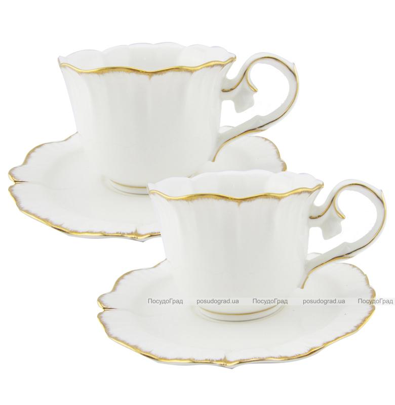 "Чайный сервиз Milleroy&House ""Gold on White"" 200мл 12 предметов на 6 персон, дизайн 27"