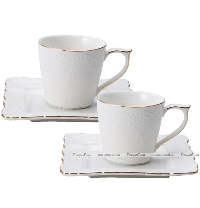 "Чайный сервиз Milleroy&House ""Gold on White"" 220мл 12 предметов на 6 персон, дизайн 29"