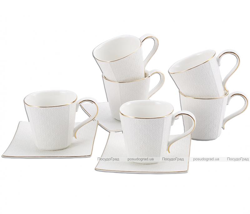 "Чайный сервиз Milleroy&House ""Gold on White"" 250мл 12 предметов на 6 персон, дизайн 31"
