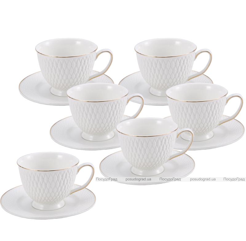 "Чайный сервиз Milleroy&House ""Gold on White"" 220мл 12 предметов на 6 персон, дизайн 32"