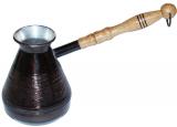 """Турка медная """"Цветочный орнамент"""" 320мл с деревянной ручкой"""