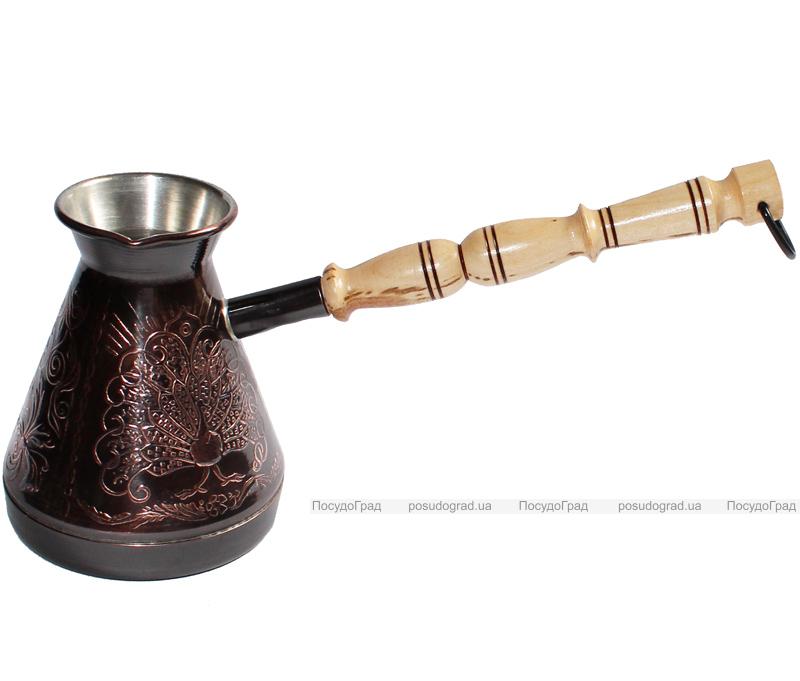 """Турка медная """"Жар Птица"""" 250мл с деревянной ручкой"""