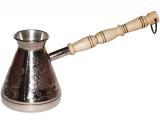 """Турка мідна """"Жар-птиця"""" 320мл (срібло) з дерев'яною ручкою"""