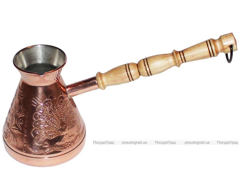 """Турка медная """"Золотая Жар-птица"""" 320мл с деревянной ручкой"""