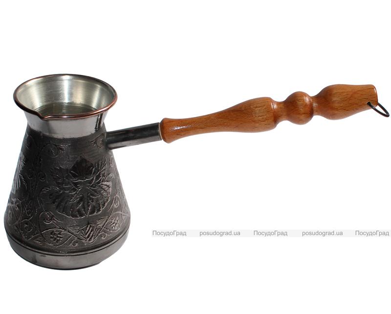 """Турка медная """"Цветок"""" 600мл с деревянной ручкой"""