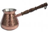 """Турка медная """"Цветок"""" 320мл (золото) с деревянной ручкой"""