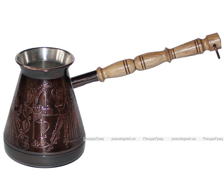 """Турка медная """"Султан"""" 400мл с деревянной ручкой"""