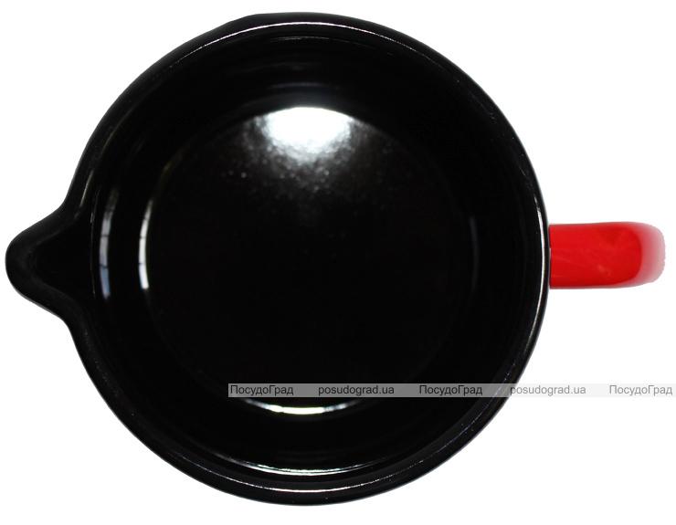 """Кружка эмалированная Metrot """"Цветная клетка"""" 1,2л красная сферическая с носиком для слива"""