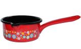 Ковш эмалированный Metrot Цветной луг 1л с носиком для слива