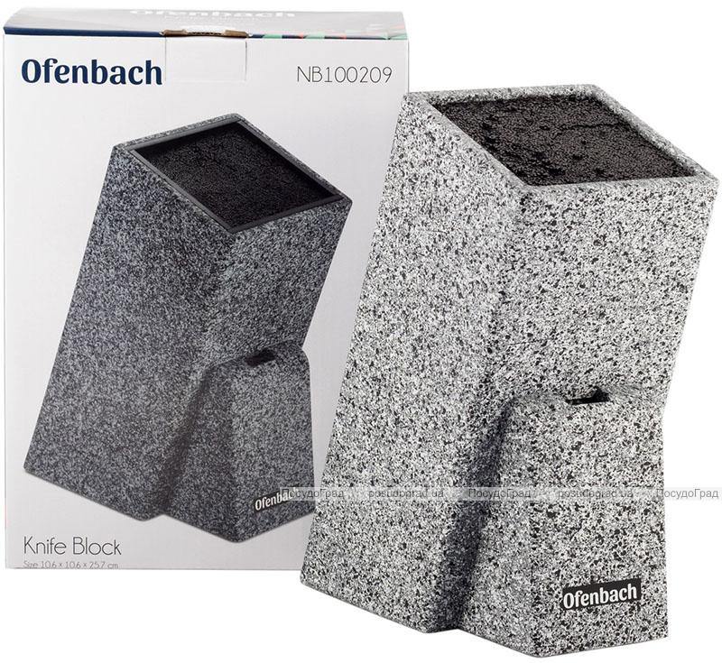 Підставка-колода Ofenbach Black Lead для кухонних ножів 11х11х26см з секцією для ножиць