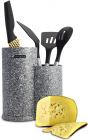 Підставка-колода Ofenbach Grey Marble для кухонних ножів 10х19х23см, подвійна кругла