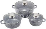 Набор кухонной посуды Ofenbach Snow Marble 8 предметов с двумя прихватками