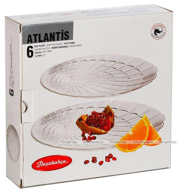 Набор 6 обеденных тарелок Atlantis Ø24см стеклянные