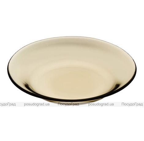 """Стеклянная тарелка """"Invitation Bronze"""" Ø22см, порционная"""