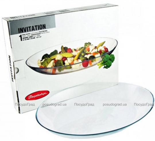 Овальное стеклянное блюдо Invitation 33х25см, высота 4.4см