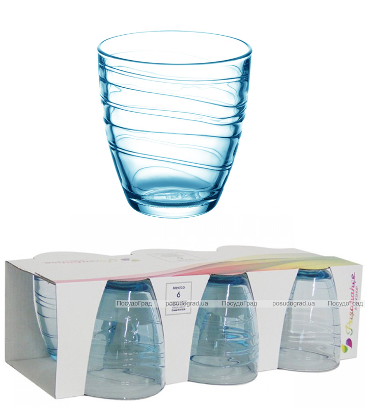 Набор 6 стаканов MEXICO 285мл (голубой)
