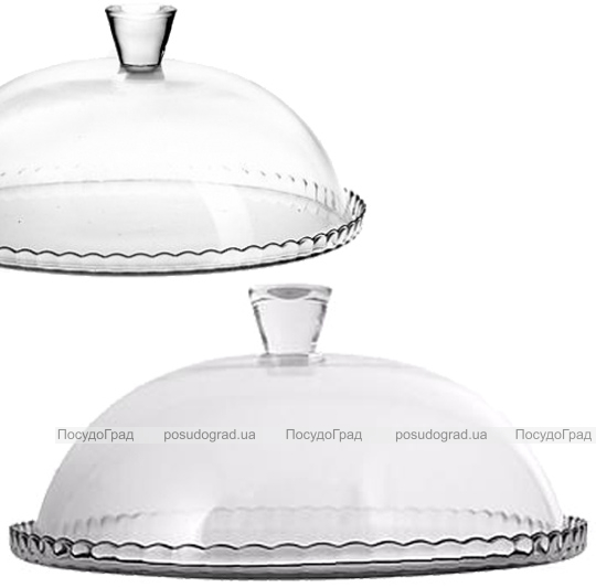 Блюдо Patisserie Ø32см с бортом и со стеклянной крышкой-колпаком