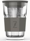 Стакан-заварник ZestGlass Original 415мл з металевим ситом і силіконовим захистом (сірий)