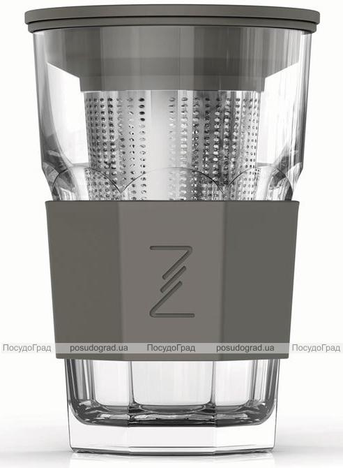 Стакан-заварник ZestGlass Original 415мл с металлическим ситечком и силиконовой защитой (серый)