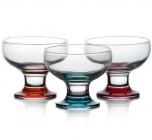 Набір 3 скляних креманки Glass4you 180мл на кольоровій ніжці