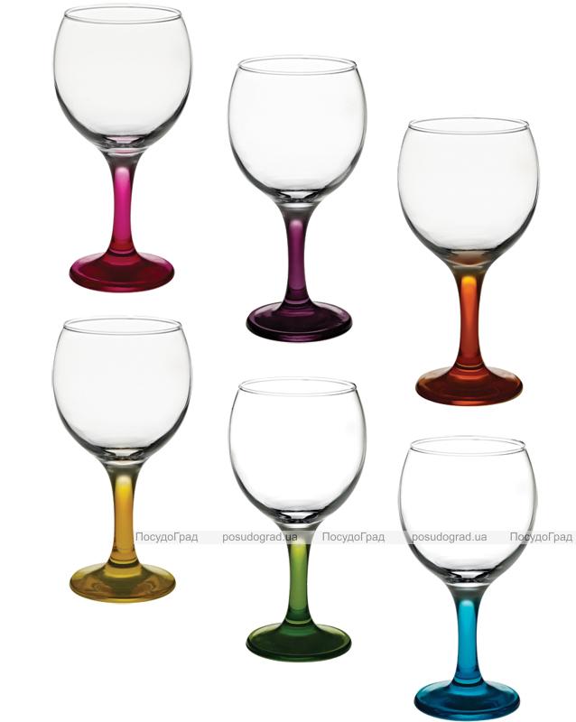 Набор бокалов для вина Bistro Color 210мл 6 фужеров с цветными ножками