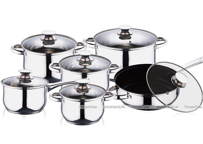 Набор кухонной посуды Renberg Bolero 12 предметов, 4 кастрюли, ковш и сковорода с крышками