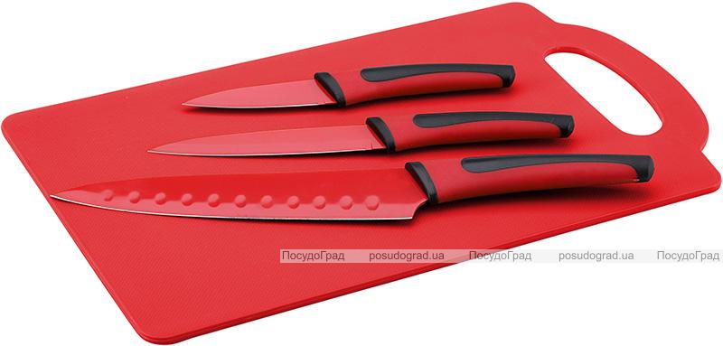 Набор 3 кухонных ножа Renberg Leiden Red + пластиковая доска