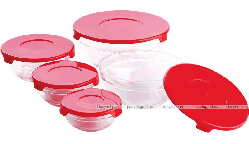 """Набір 5 скляних мисок Renberg """"LeJardin Comfort"""" з червоними кришками"""