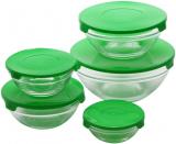 "Набір 10 скляних мисок Renberg ""LeJardin Comfort"" з зеленими кришками"