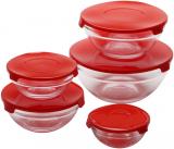 """Набор 10 стеклянных мисок Renberg """"LeJardin Comfort"""" с красными крышками"""