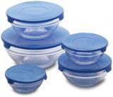 """Набор 10 стеклянных мисок Renberg """"LeJardin Comfort"""" с синими крышками"""