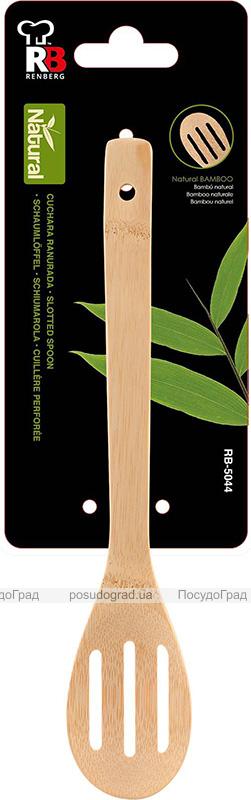 Ложка поварская с прорезями Renberg Natural life 30см, бамбук
