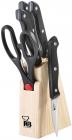 Набор кухонных ножей Renberg Black Crystal 5 предметов на подставке