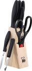 Набір кухонних ножів Renberg Black Crystal 7 предметів на дерев'яній підставці